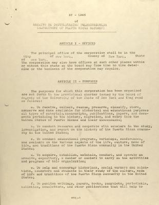 By-Laws of Archivo de Documentacion Puertorriqueña (Repository of Puerto Rican Records)