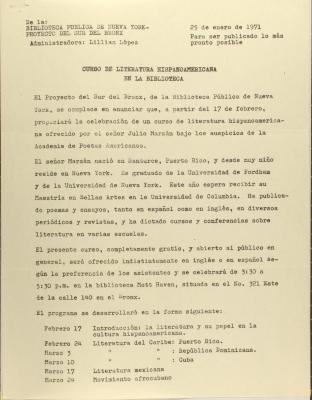Curso de Literatura Hispanoamericana el la Biblioteca / Hispanic American Literature Course in the Library