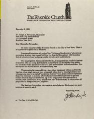 Correspondence from the Riverside Church