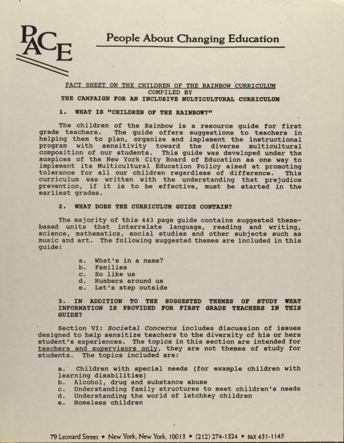 Fact Sheet on the Children of the Rainbow Curriculum