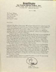 Correspondence from the Institute for Puerto Rican Policy