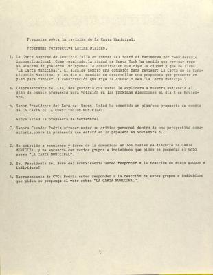 Preguntas sobre la revisión de la Carta Municipal / Questions about the revision of the Municipal Charter