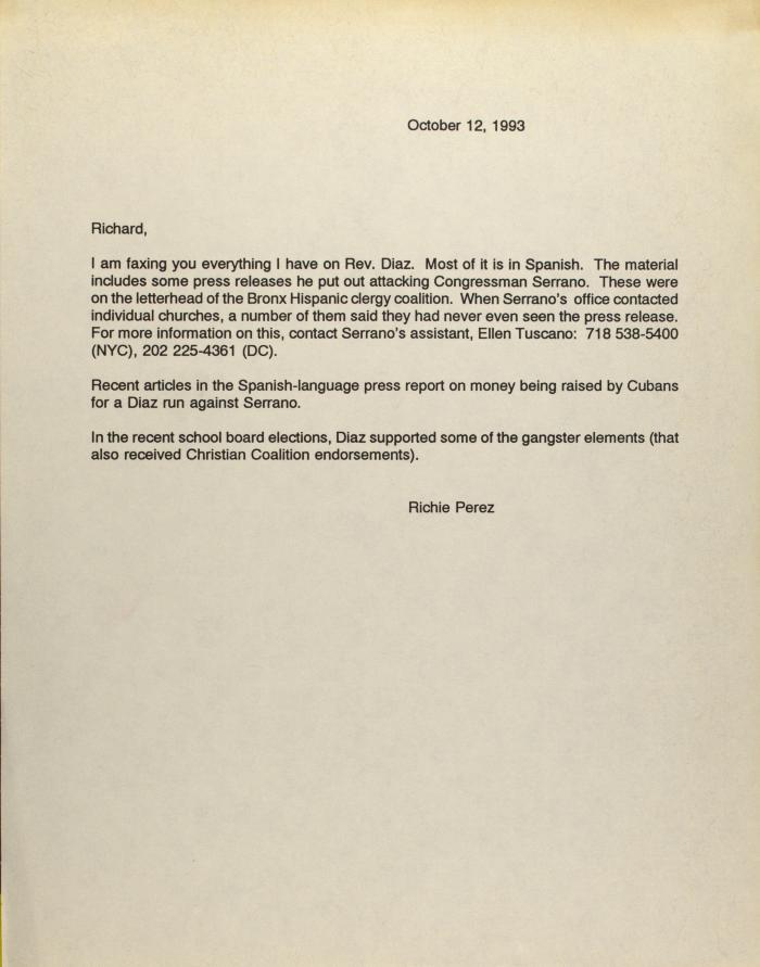 Correspondence from Richie Pérez