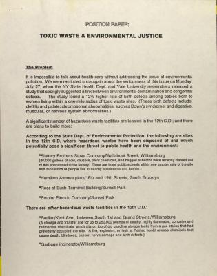 Position Paper: Toxic Waste & Environmental Justice