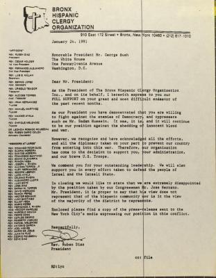 Correspondence from Rev. Rubén Díaz