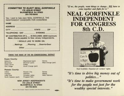 Neal Gorfinkle Independent for Congress 8th C.D.