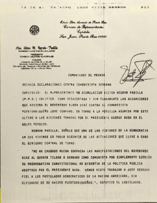 Rechaza Declaraciones Contra Congresista Serrano /  Rejects Statements Against Congressman Serrano