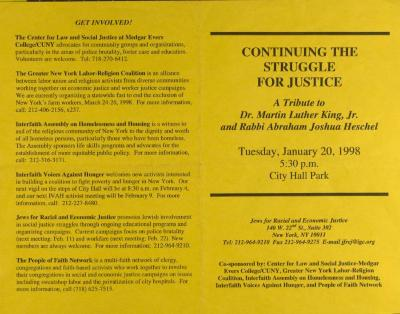 Continuing the Struggle for Justice: A Tribute to Dr. Martin Luther King, Jr. and Rabbi Abraham Joshua Heschel