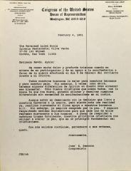 Correspondence from José E. Serrano