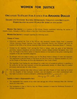 Organize to Fight for Justice for Amadou Diallo