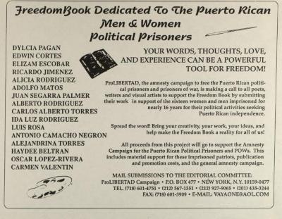 FreedomBook Dedicated to the Puerto Rican Men & Women Political Prisoners