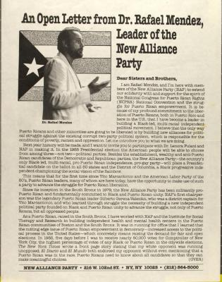 An Open Letter from Rafael Mendez, Leader of the New Alliance Party