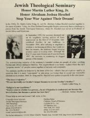 Honor Martin Luther King, Jr., Honor Rabbi Abraham Joshua Heschel, Stop Your War Against Your Dream!