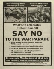 Say NO to the War Parade