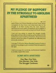 The Pledge of Support in the Struggle to Abolish Apartheid