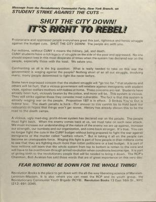 Shut the City Down! It's Right to Rebel!