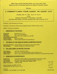 Community/Labor Forum Against the Budget Cuts