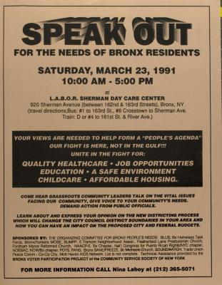Nosotros Debemos Hablar de Las Necesidades de Los Residentes Del Bronx / Speak Out For the Needs of Bronx Residents