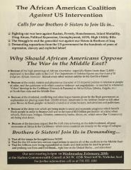 Why Should African Americans Oppose the War in the Middle East?