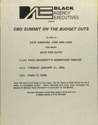 CBO Summit on the Budget Cuts