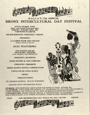 N.A.I.C.A 17th Annual Bronx Intercultural Day Festival