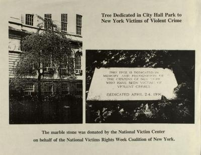 Tree Dedicated in City Hall Park to New York Victims of Violent Crime