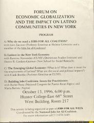 Forum on Economic Globalization and the Impact of Latino Communities in New York