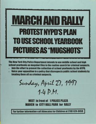"March and Rally - Protest NYPD's Plan to Use School Yearbook Pictures as ""Mugshots"""