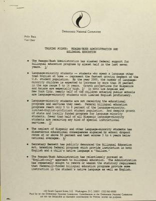 Talking Points: Reagan/Bush Administration And Bilingual Education