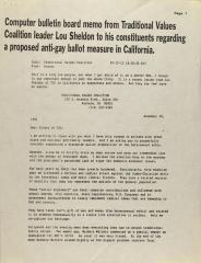 Computer Bulletin Board Memo From Traditional Values Coalition Leader Lou Sheldon To His Constituents Regarding a Proposed Anti-Gay Ballot Measure in California