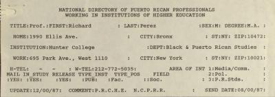 National Directory of Puerto Rican Professionals Working in Institutions of Higher Education