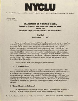 Statement of Norman Siegel
