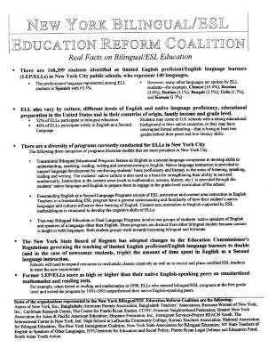 New York Bilingual/ESL Education Reform Coalition