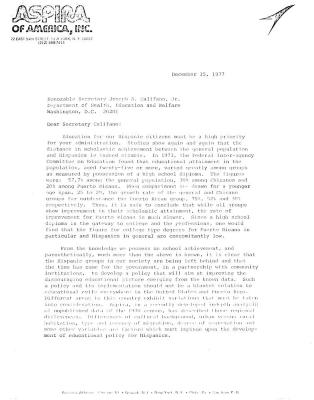 Letter from ASPIRA of America to the Honorable Secretary Joseph A. Califano, Jr.