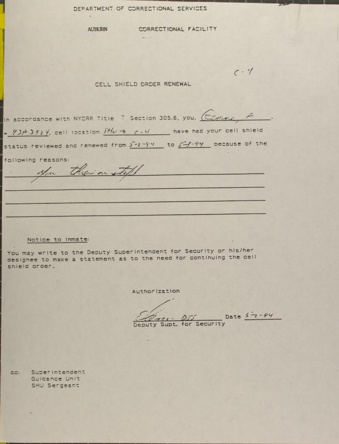 Auburn Correctional Facility - Cell Shield Order Renewal