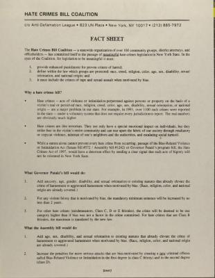 Hate Crimes Bill Coalition - Fact Sheet