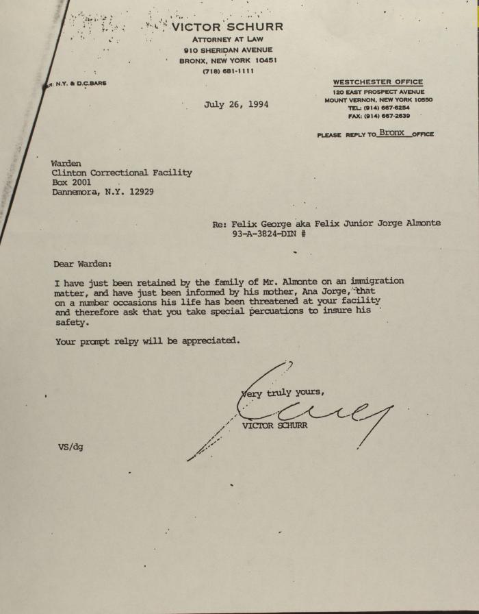 Correspondence to Clinton Correctional Facility