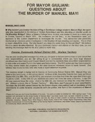For Mayor Giuliani: Questions About the Murder of Manuel Mayi