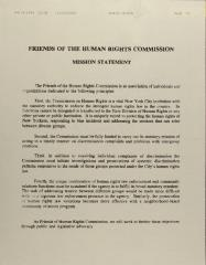 Friends of the Human Rights Commission - Mission Statement