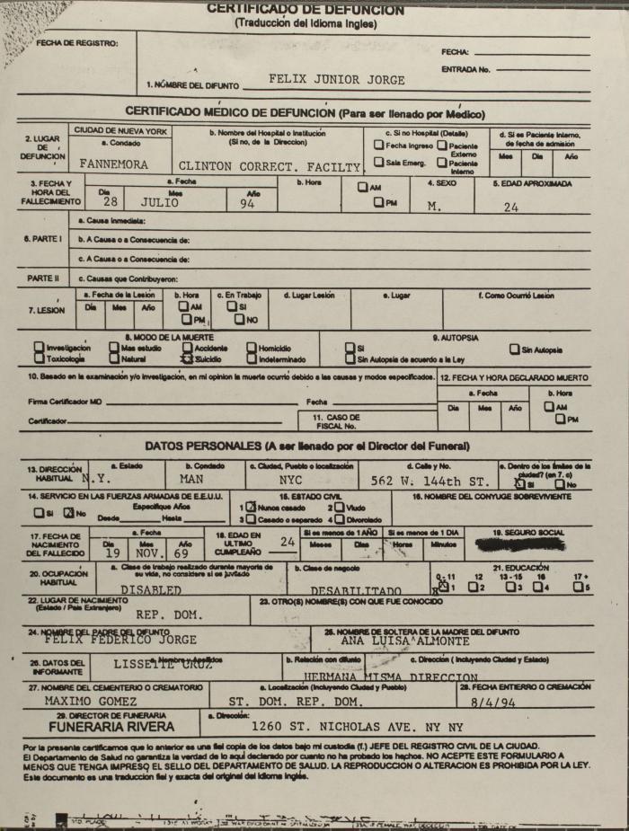 Certificado de Defunción / Death Certificate