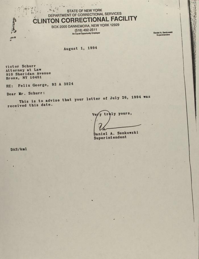 Correspondence from Clinton Correctional Facility