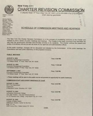 Schedule of Commission Meetings and Hearings