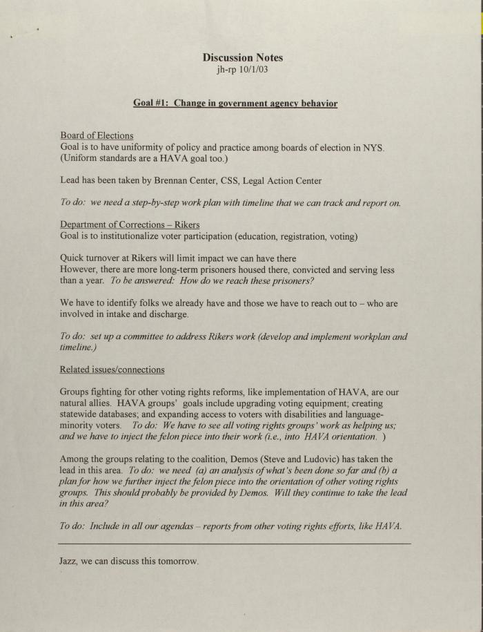 Discussion Notes - Change in Government Agency Behavior