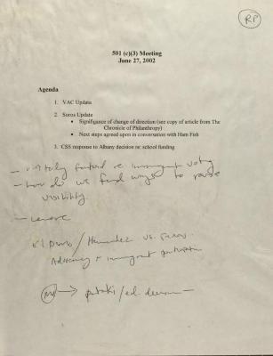 501 (c)(3) Meeting - Agenda