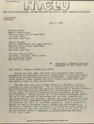 Correspondence from the New York Civil Liberties Union