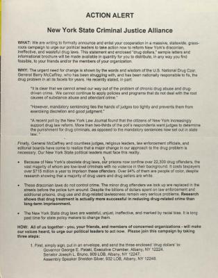 Action Alert: New York State Criminal Justice Alliance