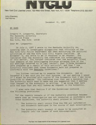 Correspondence from New York Civil Liberties Union