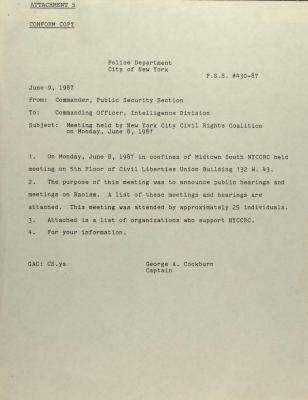 Meeting Held by New York Civil Rights Coalition on Monday, June 8, 1987