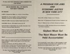 A Program For Jobs and Economic Justice in New York City