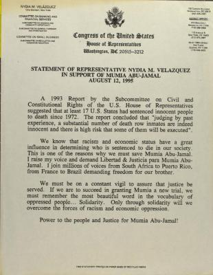 Statement of Representative Nydia Velázquez in Support of Mumia Abu-Jamal